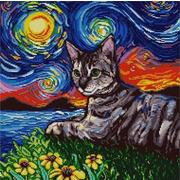 """Ткань с рисунком для вышивки бисером Конёк """"Кот и звездная ночь"""""""
