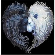 """Ткань с рисунком для вышивки бисером Конёк """"Львы солнца и луна"""""""