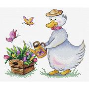 """Набор для вышивания крестом Жар-птица (от МП-Студии) """"Садовые заботы"""""""