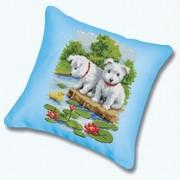 """Набор для вышивания крестом Белоснежка подушки """"Два щенка"""""""