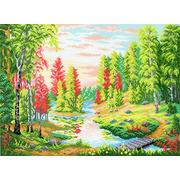"""Канва с нанесенным рисунком М.П. Студия """"Рассвет в лесу"""""""