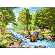 """Канва с нанесенным рисунком М.П. Студия """"Лесной ручей"""""""