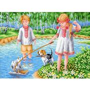 """Канва с нанесенным рисунком М.П. Студия """"Игры на реке"""""""