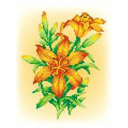 """Канва/ткань с нанесенным рисунком М.П. Студия """"Огненная лилия"""""""