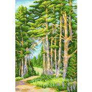 """Канва с нанесенным рисунком М.П. Студия """"На лесной тропинке"""""""