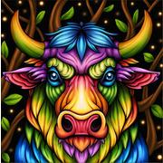 """Набор для выкладывания мозаики Алмазная живопись """"Радужный бык"""""""