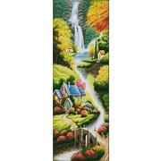 "Ткань с рисунком для вышивки бисером Конёк ""Поселок у реки"""