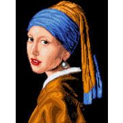 """Ткань с рисунком для вышивки бисером Каролинка """"Девушка с жемчужиной"""""""