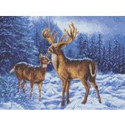 """Канва/ткань с нанесенным рисунком Каролинка """"Олени в зимнем лесу"""""""