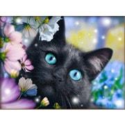 """Набор для выкладывания мозаики Алмазная живопись """"Черный кот в цветах"""""""