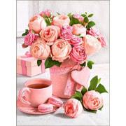 """Набор для выкладывания мозаики Алмазная живопись """"Букет розовое чаепитие"""""""