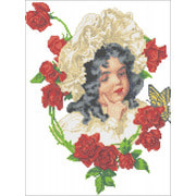 """Набор для вышивания крестом Каролинка """"Девочка в розах"""""""