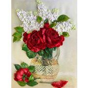 """Набор для вышивания лентами Каролинка """"Сирень и красные розы"""""""