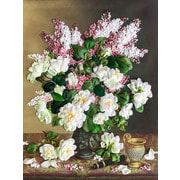 """Набор для вышивания лентами Каролинка """"Белые розы и сирень"""""""
