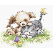 """Набор для вышивания крестом Luca-S """"Щенок и котёнок с бабочкой"""""""