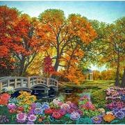 """Ткань с рисунком для вышивки бисером Конёк """"Осенние краски"""""""