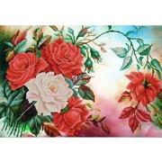 """Ткань с рисунком для вышивки бисером Конёк """"Розы в саду"""""""