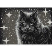 """Ткань с рисунком для вышивки бисером Конёк """"Черный кот"""""""