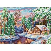 """Ткань с рисунком для вышивки бисером Конёк """"В лесной тишине"""""""
